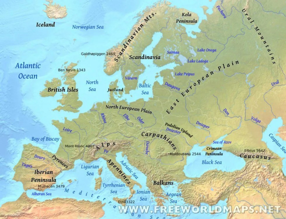 Europe's mountains, main rivers, seas, and plains