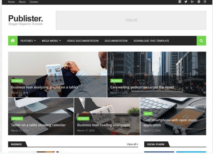 Publister Blogger Theme