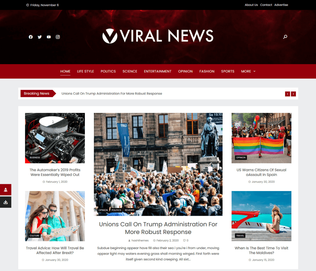 viral news hash themes