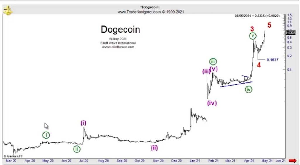 What does Elliot wave says about doge coin