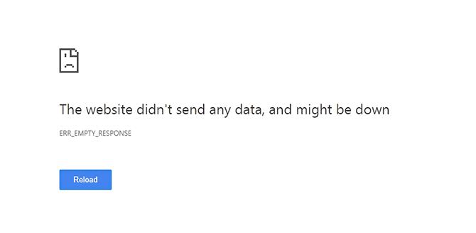 err_empty_response message in chrome screen