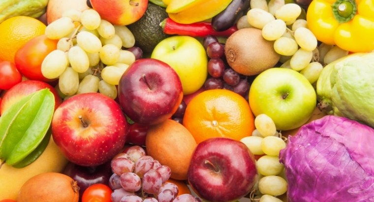 Different fresh fruits and vegetables for eating healthy and dieting