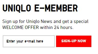 UNIQLO EMAIL SUSCRIPTION