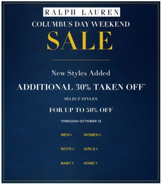 ralph lauren promotioncolumbusday