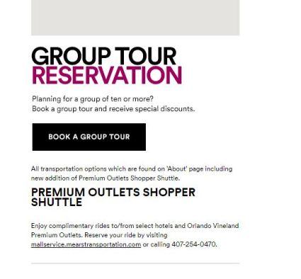 orlando vineland premium outlets free shuttle