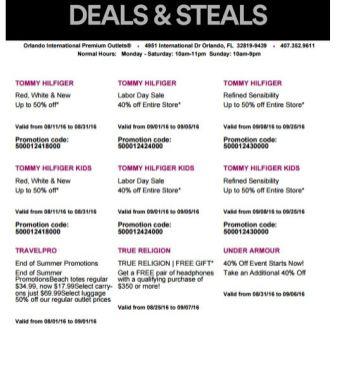Deals Orlando International Premium Outlet Septiembre 09