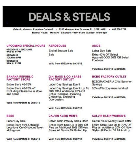 Deals Orlando Vineland Premium Outlet septiembre 2016 1