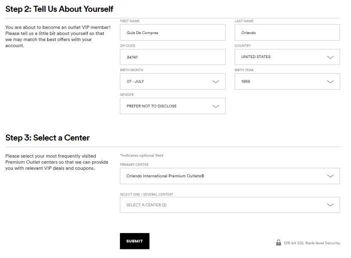 Registro nuevo usuario VIP Shoppremiumoutlets.com 2