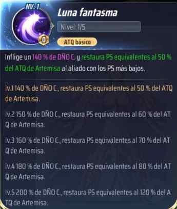 Habilidades de Artemisa, Saint Seiya Awakening KotZ, Luna fantasma