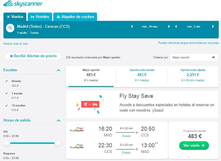 Vuelo España Venezuela por 483 Euros Ida y Vuelta