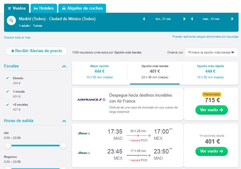Vuelo de España a Ciudad de Mexico por 401 euros i/ v