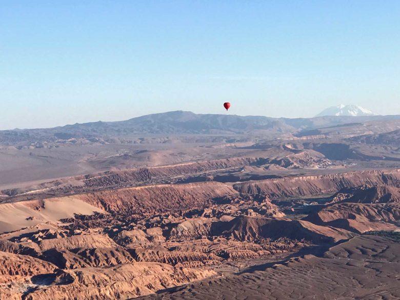 vista linda do passeio de balão no Atacama