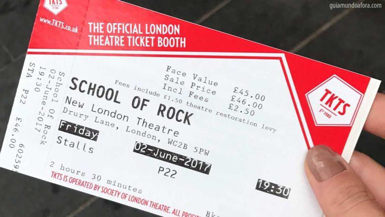 ingresso de musicais em Londres