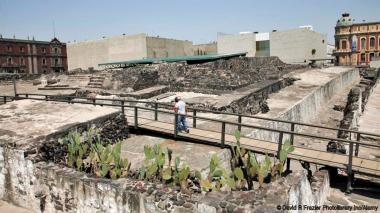 Ruins, Templo Mayor, Aztec temple unearthed in the 1970s, Mexico City, Mexico, North America