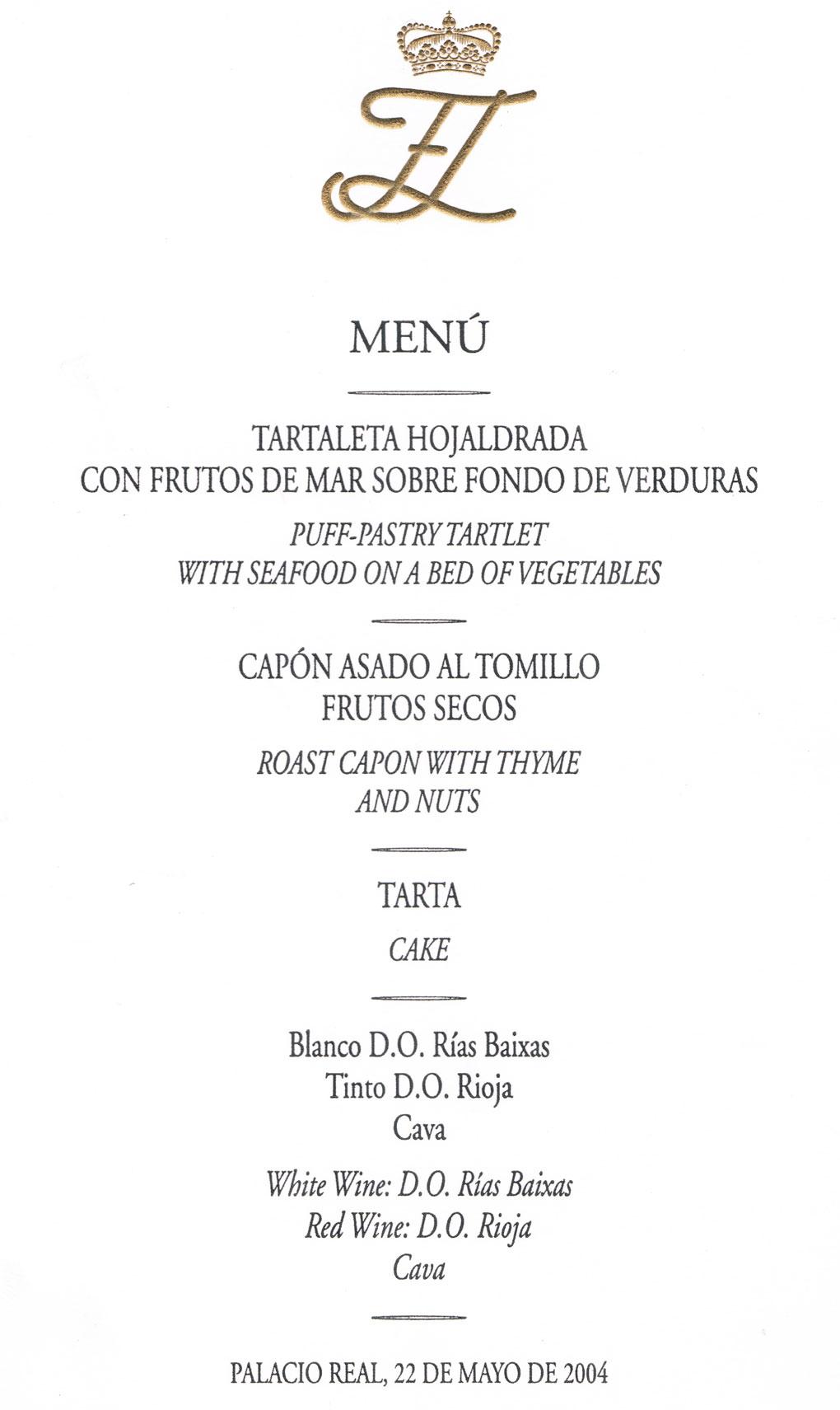 Men con historia la cena de la boda de Letizia y Felipe
