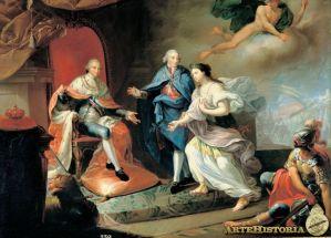 Manuel Godoy presenta a la paz a Carlos IV