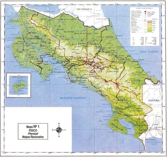 Mapa físico Costa Rica