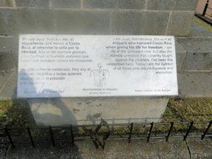 Placa Monumento a Juan Santamaría