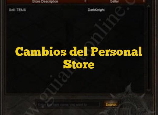 Cambios del Personal Store