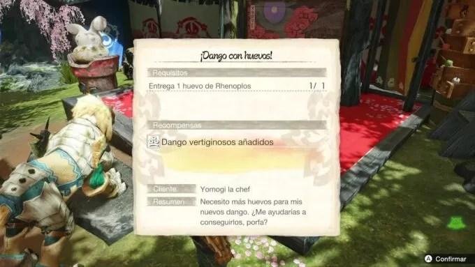 Cómo conseguir el huevo de Rhenoplos para ¡Dango con huevos! en Monster Hunter Rise
