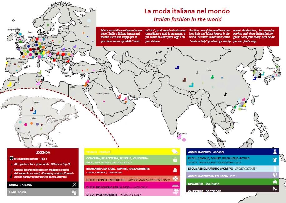 La mappa dell'export della Moda italiana