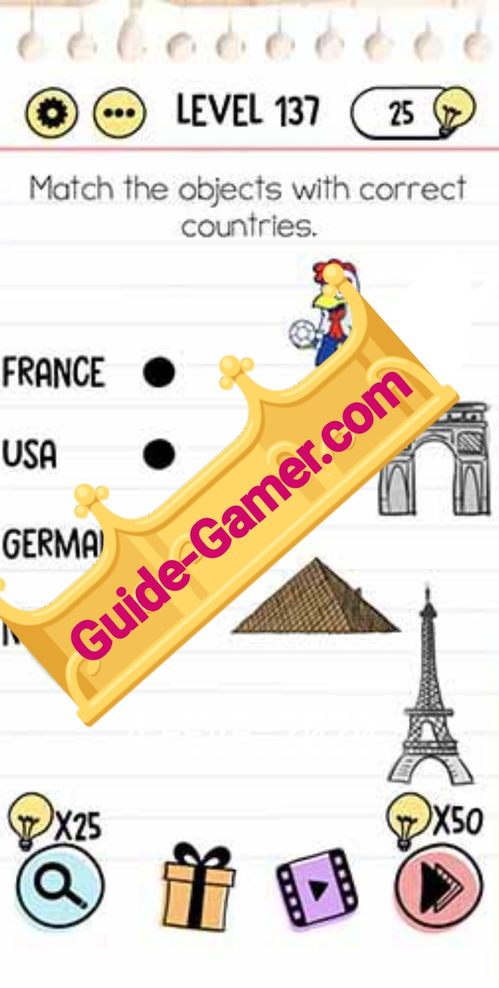 Brain Test Level 137 : brain, level, Brain, Level, Match, Objects, Correct, Countries, Answer, Guide-gamer