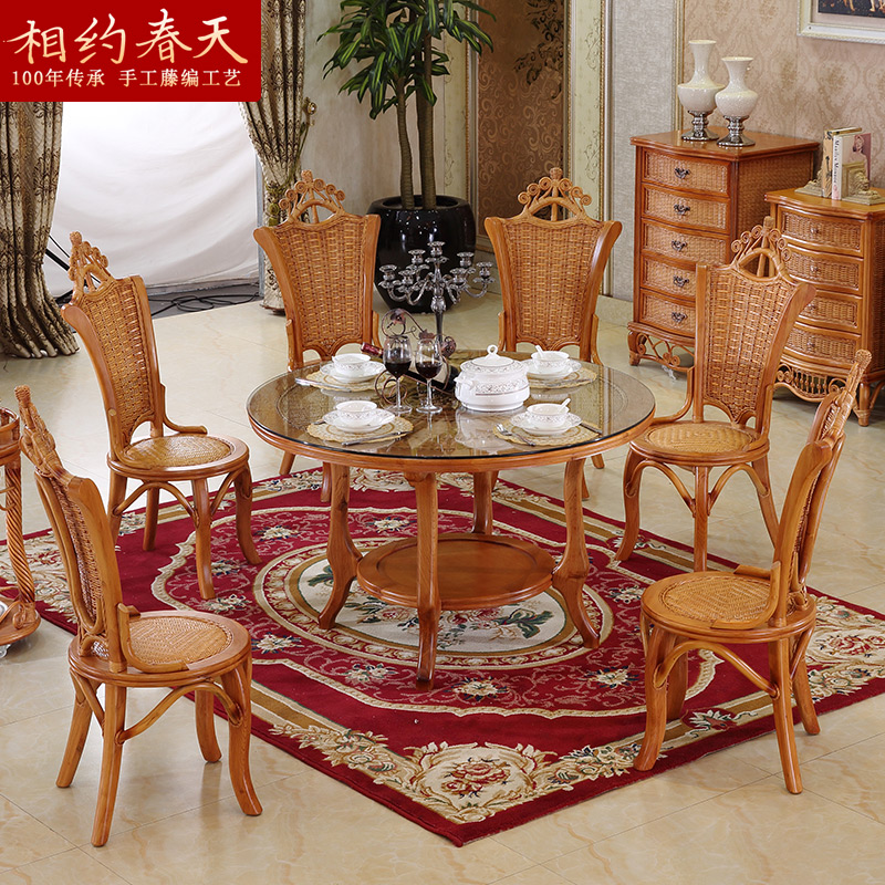 four chairs furniture farmhouse chair cushions china dining get quotations southeast rattan table and combination of a six