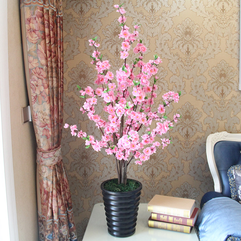 artificial trees for living room sleeper sofas small rooms china shopping get quotations high simulation fake peach tree cherry flowers