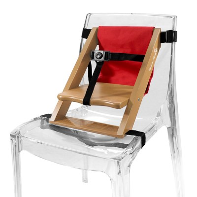 Rehausseur de chaise en bois naturel et tissu rouge