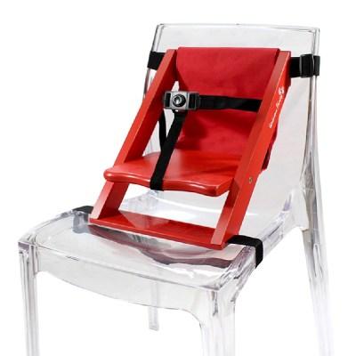 Rehausseur de chaise en bois rouge et tissu rouge