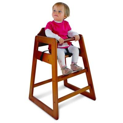 Chaise haute en bois foncé