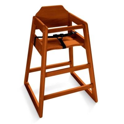 Chaise haute enfant en bois foncé