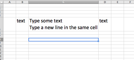 excel mac how to create new line in cell