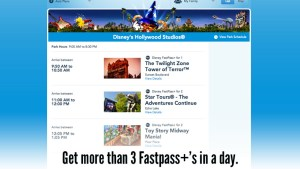 MyDisneyExperience - Fastpass+ Selection Screen