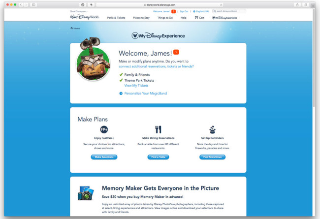 MyDisneyExperience Website - FastPass Tips