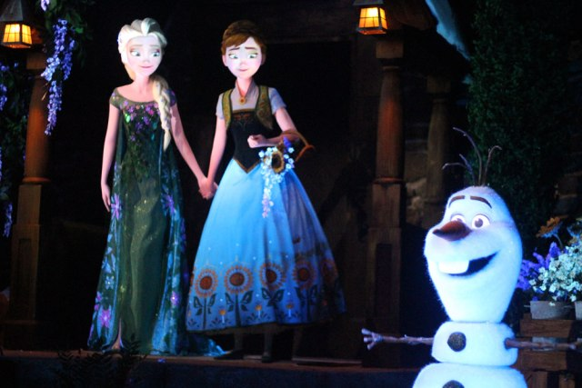 Elsa, Anna, and Olaf - Frozen Ever After Ride at Disney World