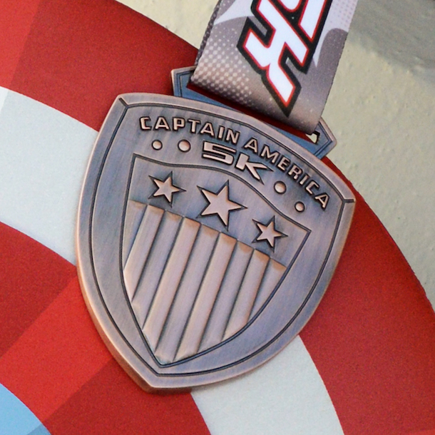 runDisney 5K medal - Captain America 5K