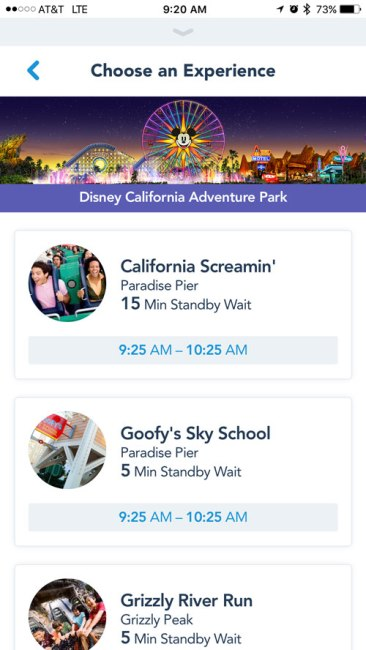 MaxPass Attraction Selection - Disneyland