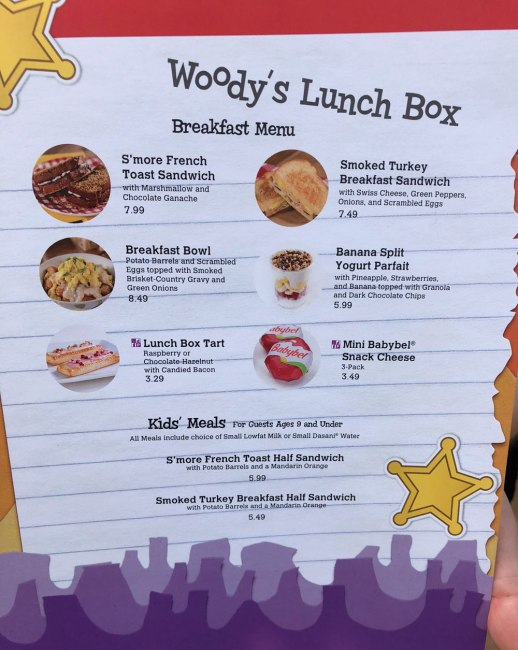Woody's Lunch Box Menu - Toy Story Land - Disney's Hollywood Studios - Walt Disney World