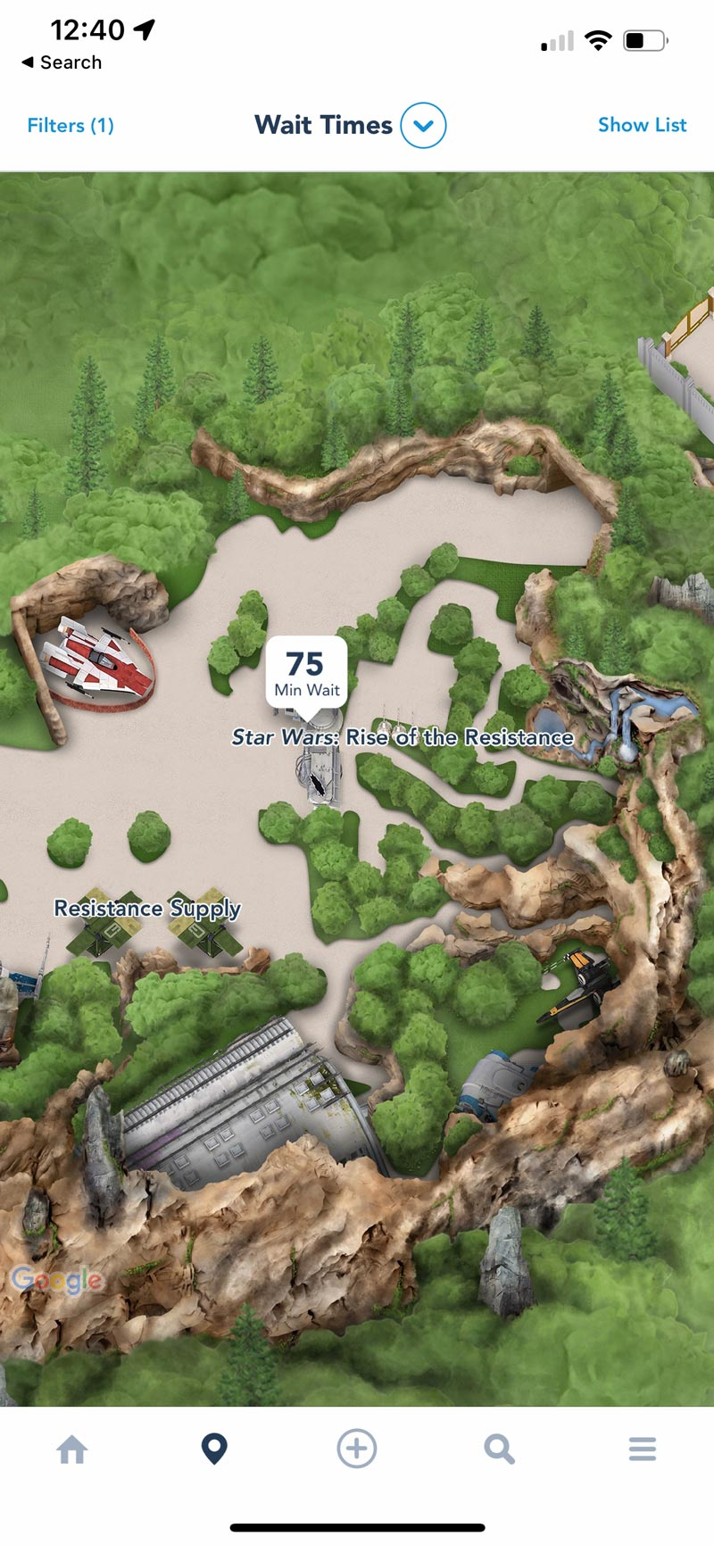 Rise of the Resistance - Wait Time - Disney World App