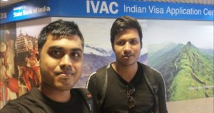Mukto and abir at indian visa center