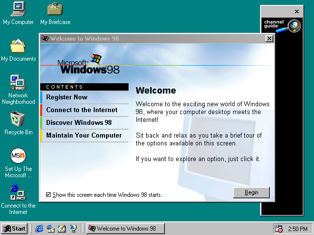 guidebook screenshots windows 98