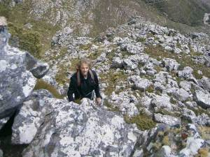 High up on Silverstream Buttress