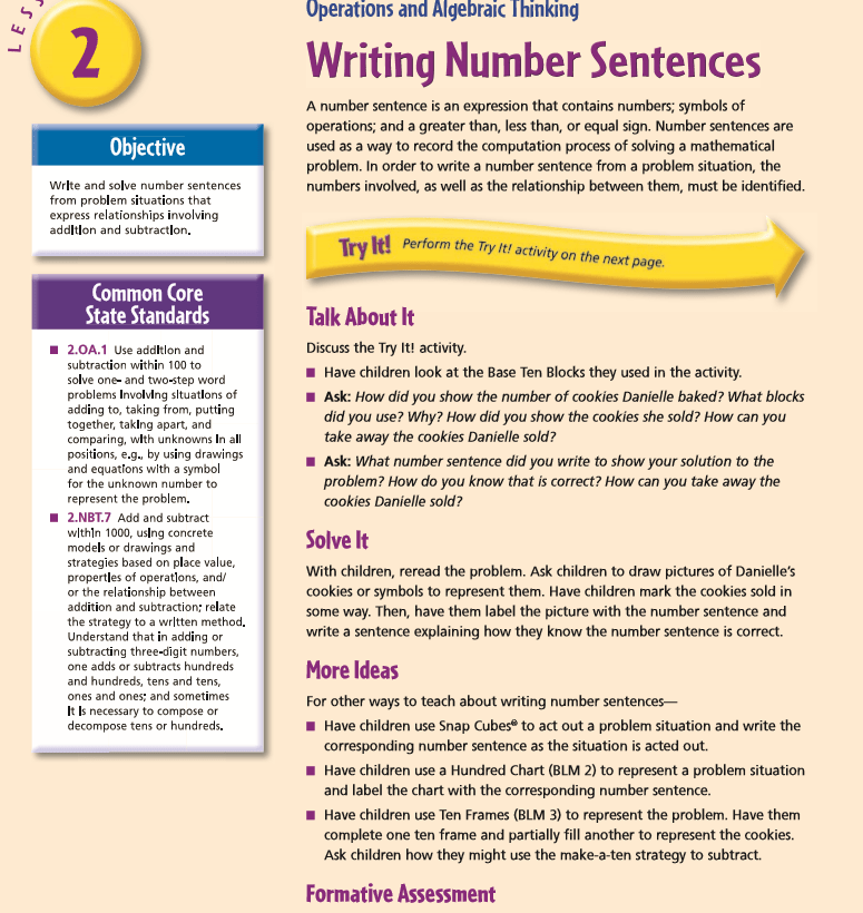Guided Math Lesson on Writing Number Sentences - Guided Math