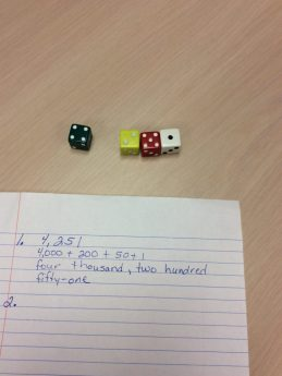 Guided Math Dice Place Value Activity