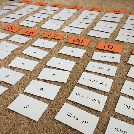 Equation algebra sort for guided math station