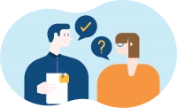 An animated image of two people communicating
