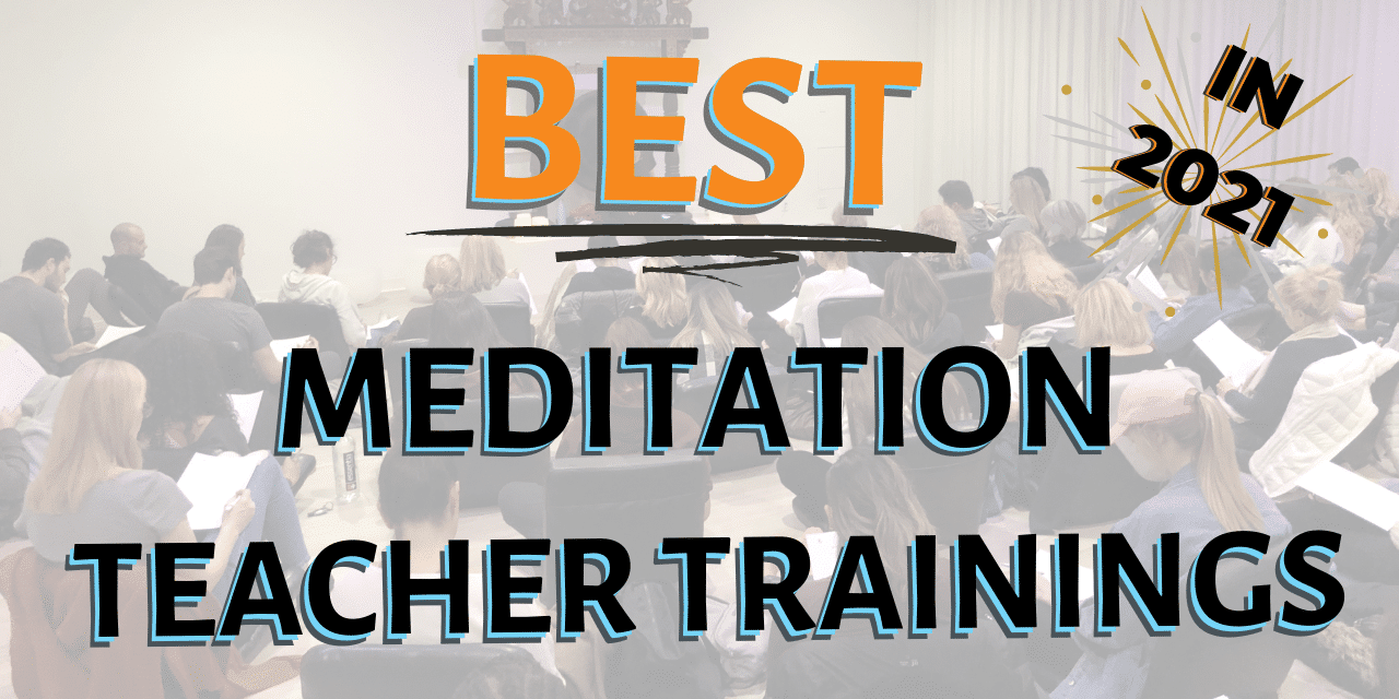 """Text of """"Best meditation teacher trainings in 2021"""" overlaid over image of Heather Hayward teaching a meditation instructor training"""