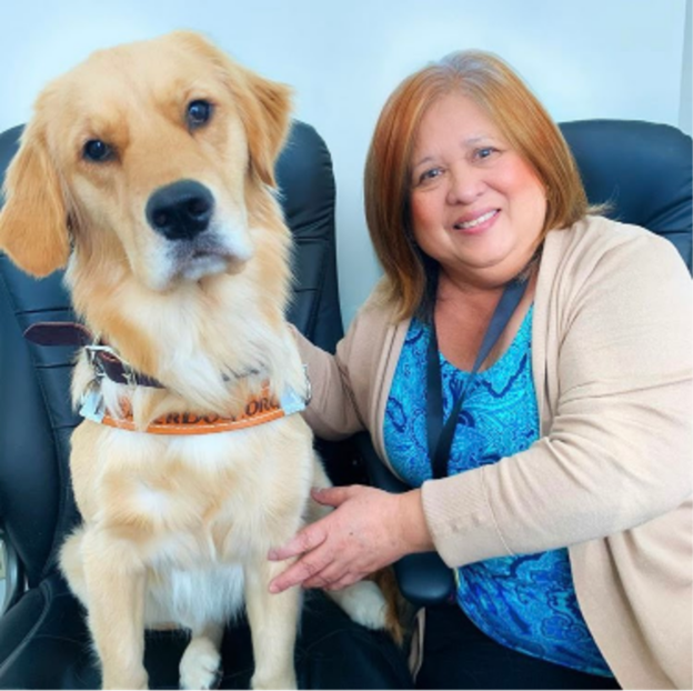 A woman with shoulder length hair sits on an office chair. Her golden retriever guide dog sits on another office chair beside her. Both are looking at the camera.