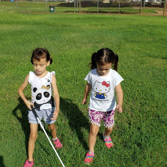 Two young girls walk through a grassy park. Both have pigtails in their hair, and one has a white cane.